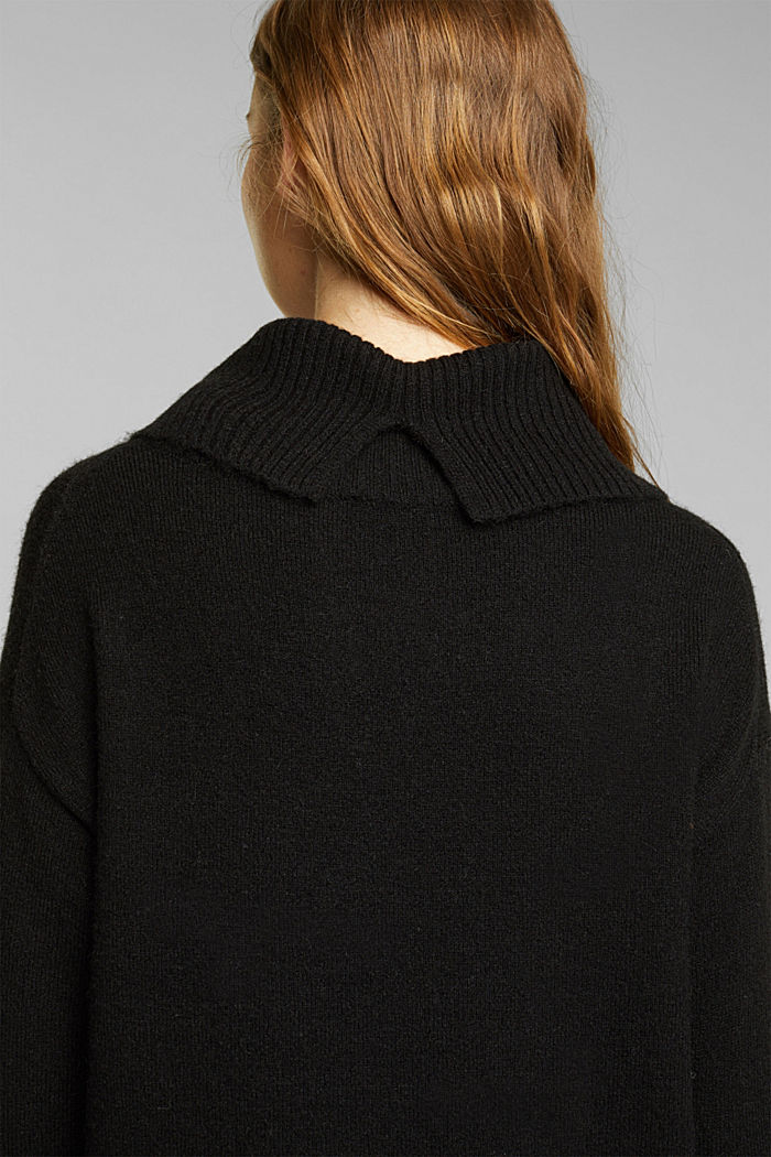 With wool/alpaca: Polo neck knitted dress, BLACK, detail image number 3