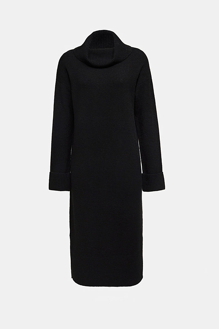 With wool/alpaca: Polo neck knitted dress, BLACK, detail image number 5