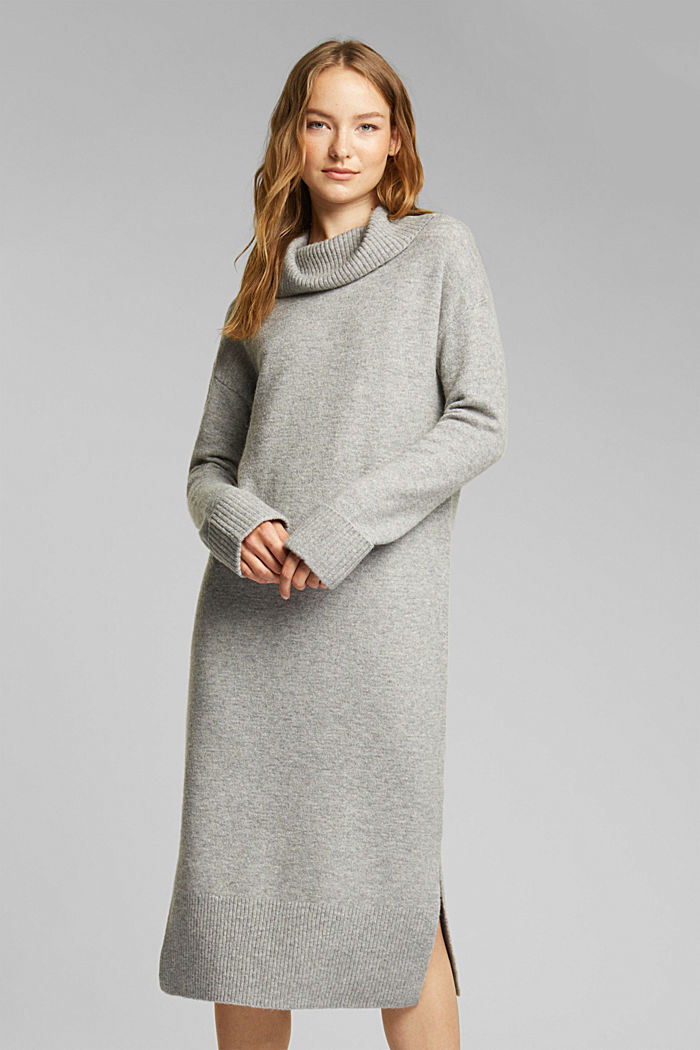 With wool/alpaca: Polo neck knitted dress, MEDIUM GREY, detail image number 0
