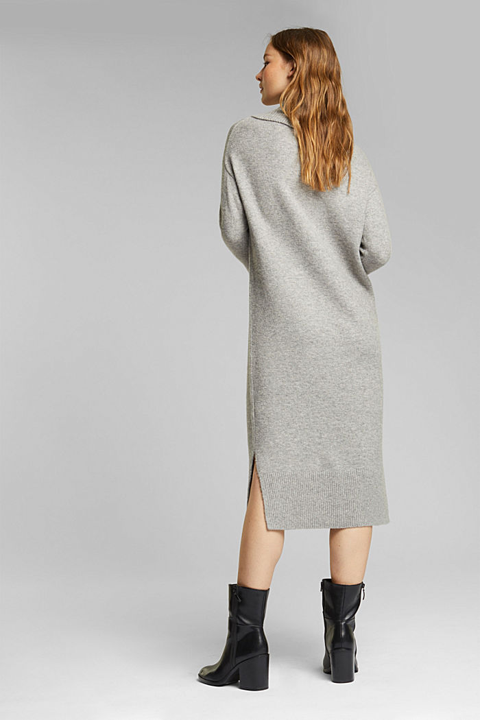 With wool/alpaca: Polo neck knitted dress, MEDIUM GREY, detail image number 2