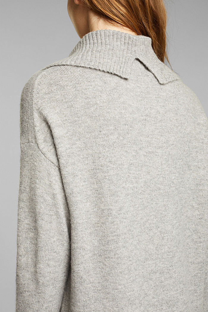 With wool/alpaca: Polo neck knitted dress, MEDIUM GREY, detail image number 3