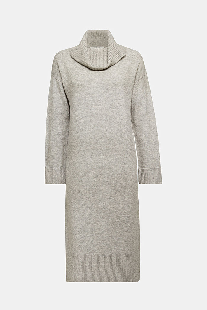 With wool/alpaca: Polo neck knitted dress, MEDIUM GREY, detail image number 5