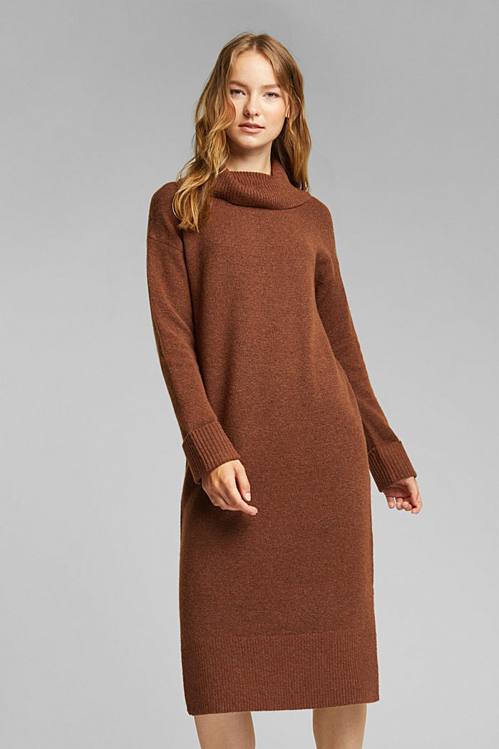 With wool/alpaca: Polo neck knitted dress, BROWN, detail image number 0