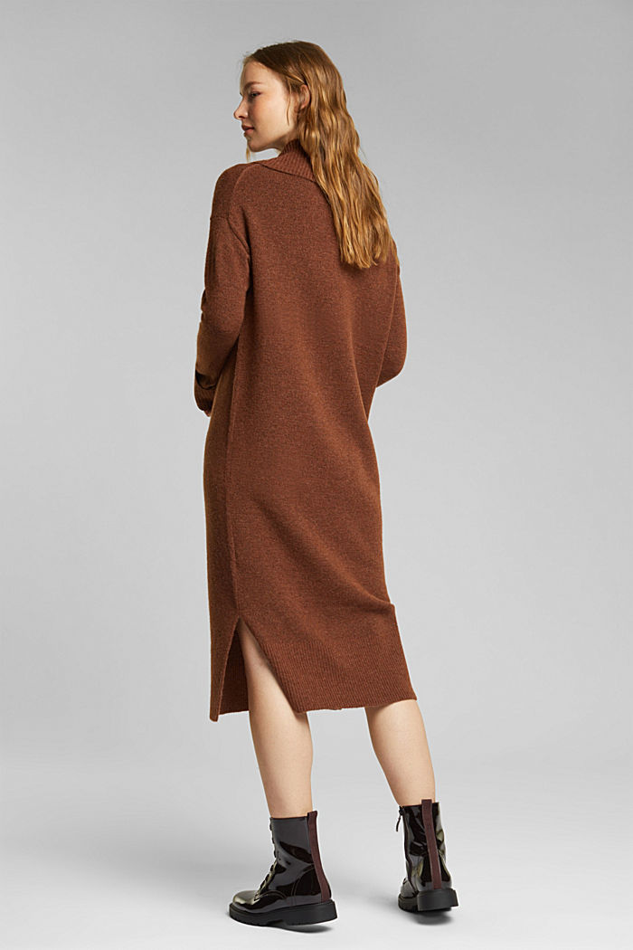 With wool/alpaca: Polo neck knitted dress, BROWN, detail image number 2