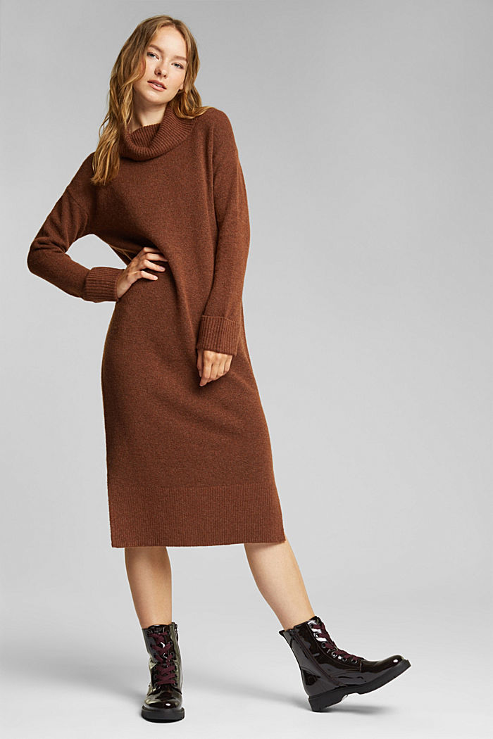 With wool/alpaca: Polo neck knitted dress, BROWN, detail image number 1