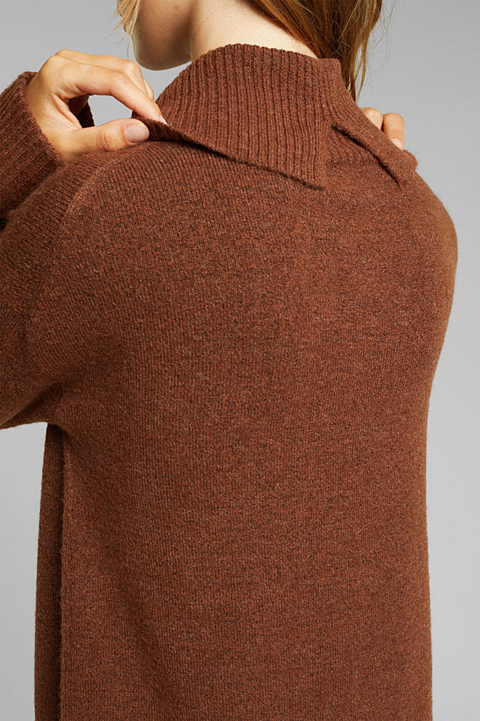 With wool/alpaca: Polo neck knitted dress