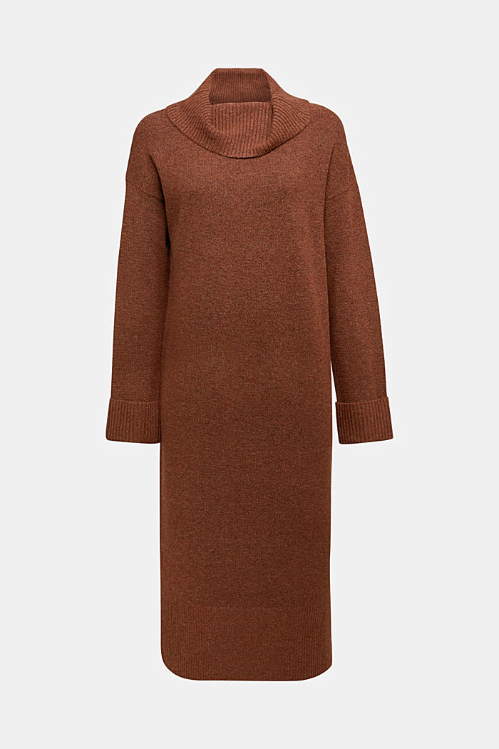 With wool/alpaca: Polo neck knitted dress, BROWN, detail image number 5