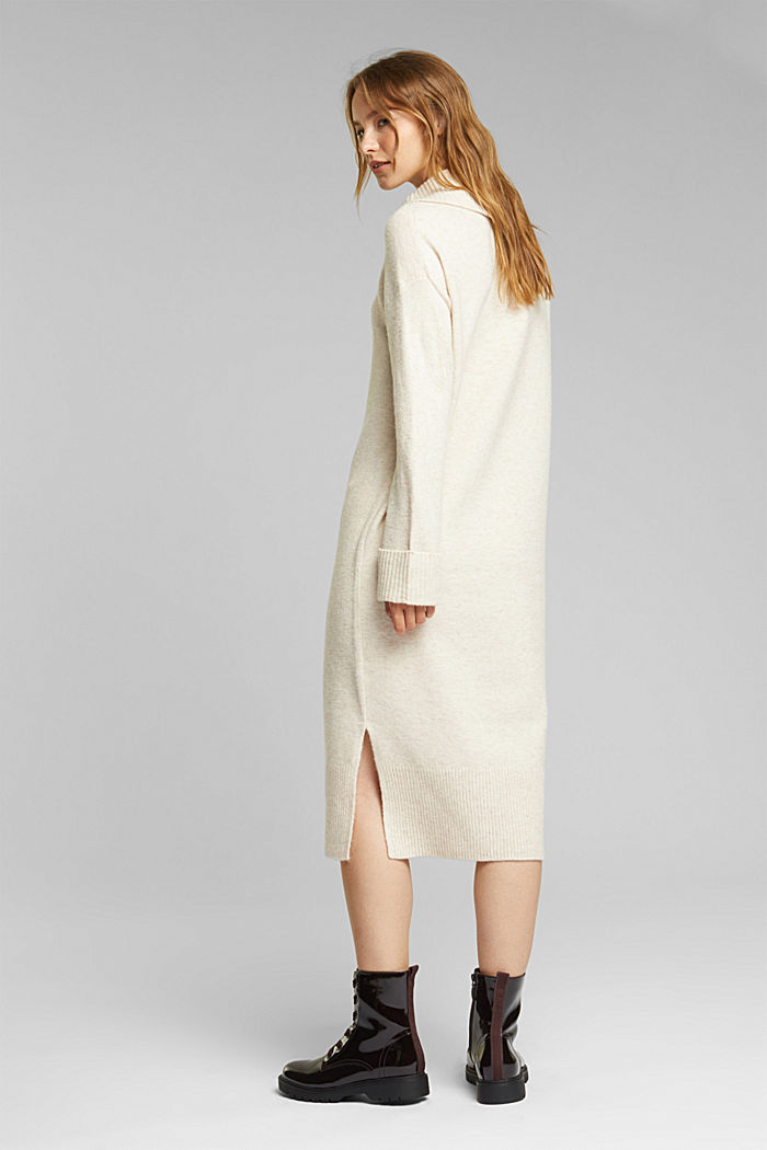With wool/alpaca: Polo neck knitted dress, BEIGE, detail image number 2