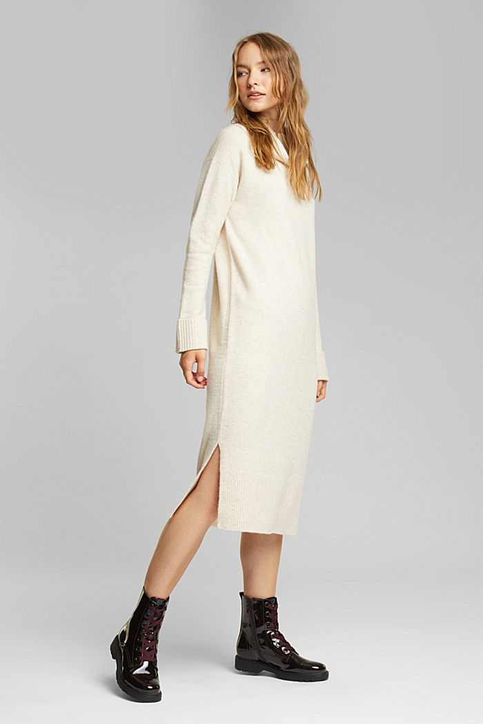 With wool/alpaca: Polo neck knitted dress, BEIGE, detail image number 1