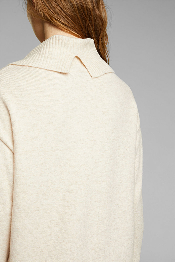 With wool/alpaca: Polo neck knitted dress, BEIGE, detail image number 3