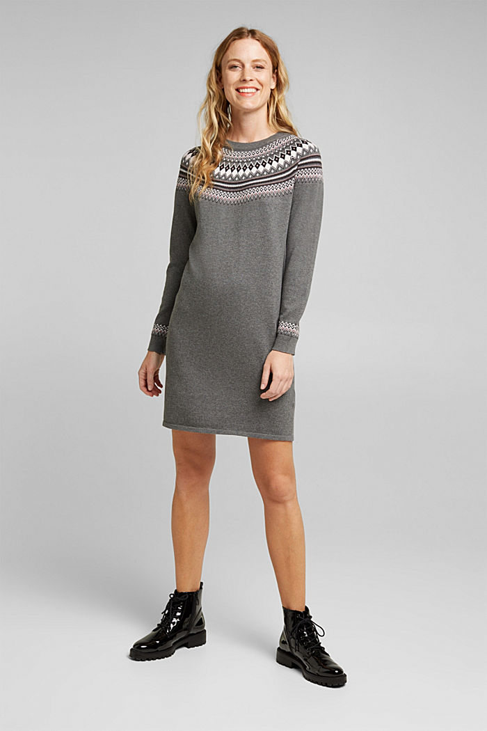 Knitted dress made of 100% organic cotton, DARK GREY, detail image number 1
