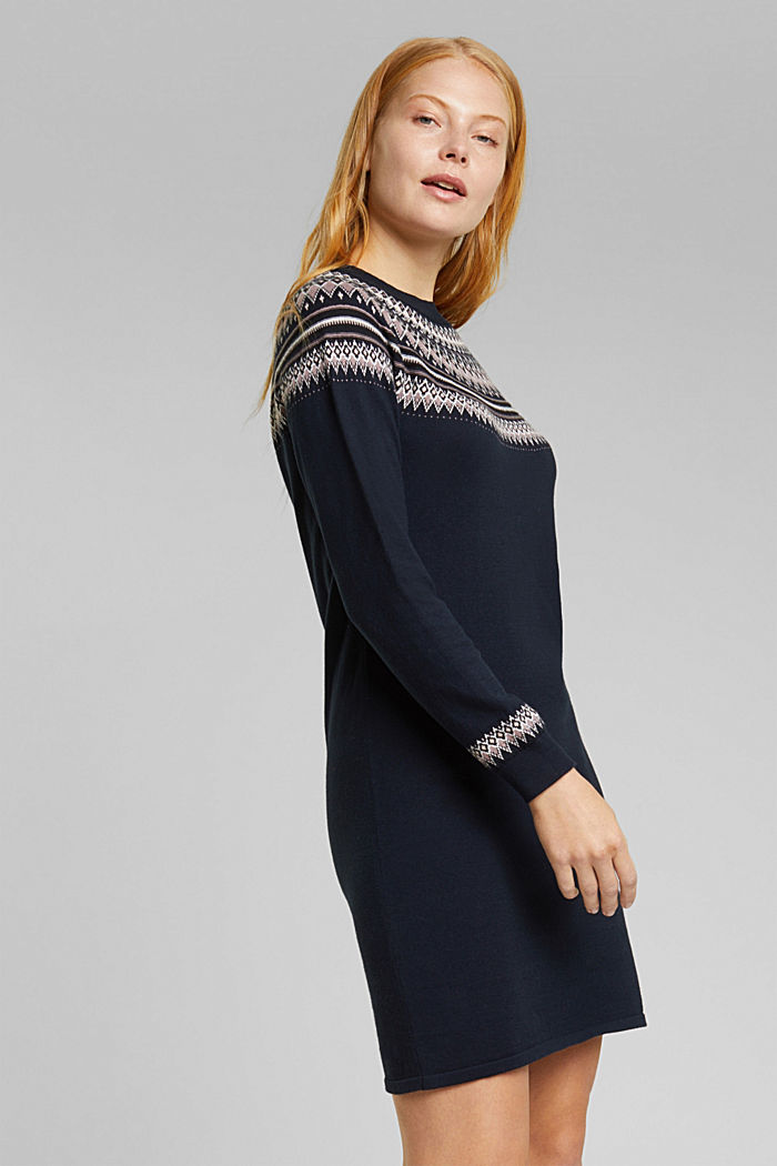 Knitted dress made of 100% organic cotton, NAVY, detail image number 0