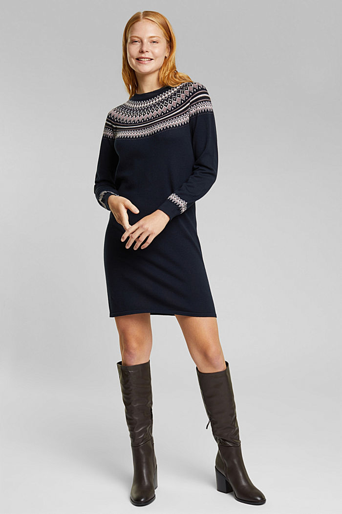 Knitted dress made of 100% organic cotton, NAVY, detail image number 1
