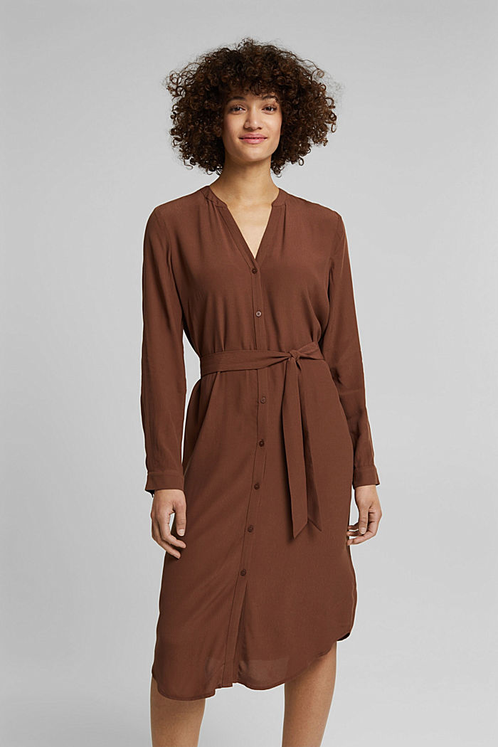 Shirt dress made of LENZING™ ECOVERO™, BROWN, detail image number 0
