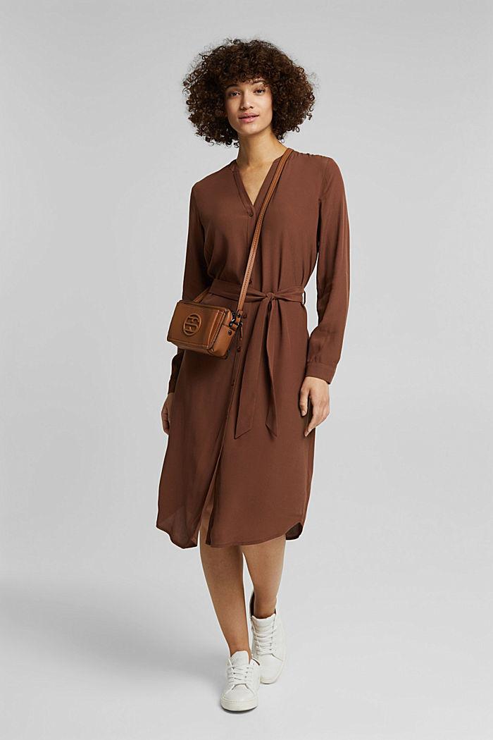 Blusenkleid aus LENZING™ ECOVERO™, BROWN, detail image number 1