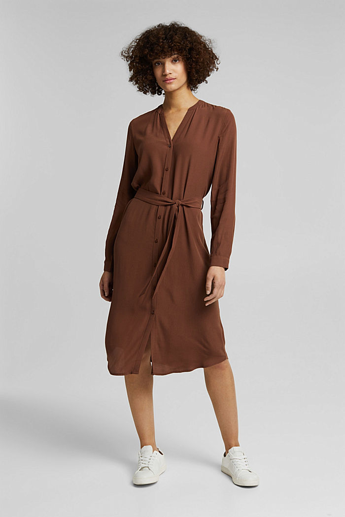 Shirt dress made of LENZING™ ECOVERO™, BROWN, detail image number 7