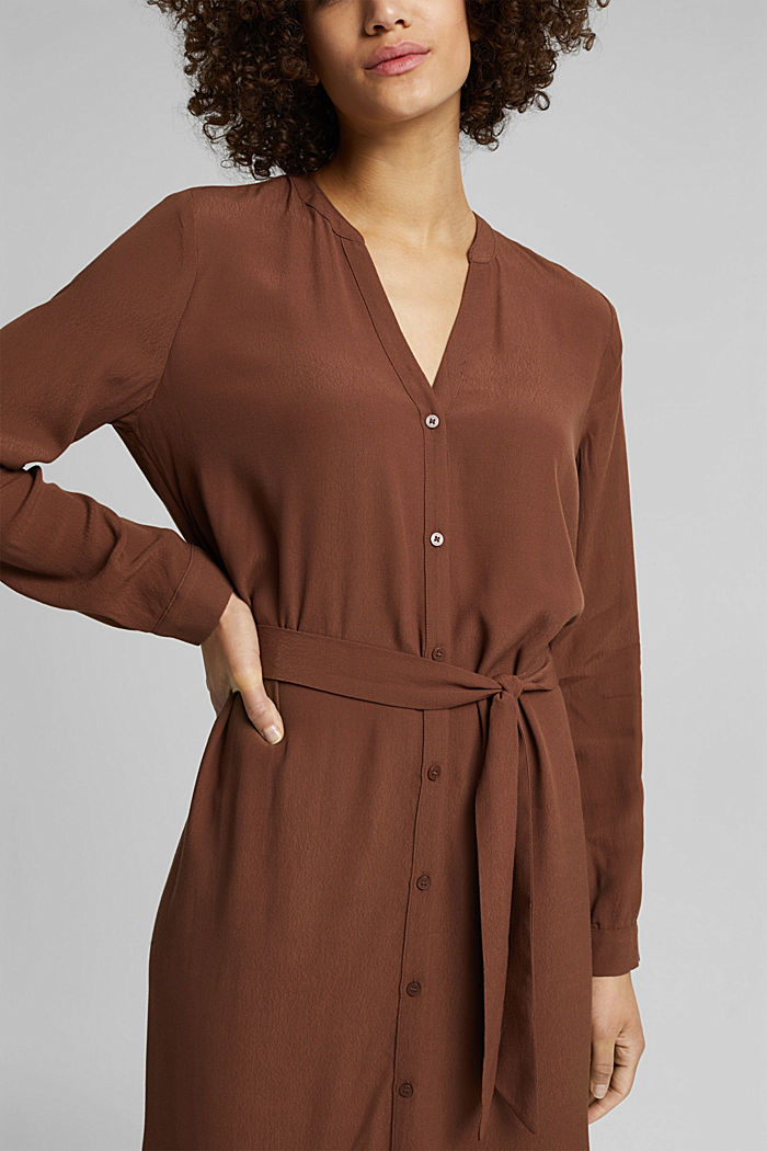 Shirt dress made of LENZING™ ECOVERO™, BROWN, detail image number 5