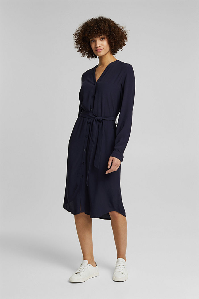 Shirt dress made of LENZING™ ECOVERO™, NAVY, detail image number 5