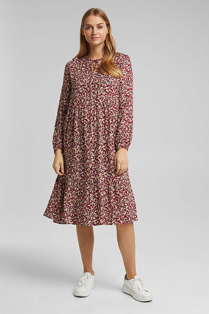 Midi-Kleid aus LENZING™ ECOVERO™, NAVY, detail image number 0