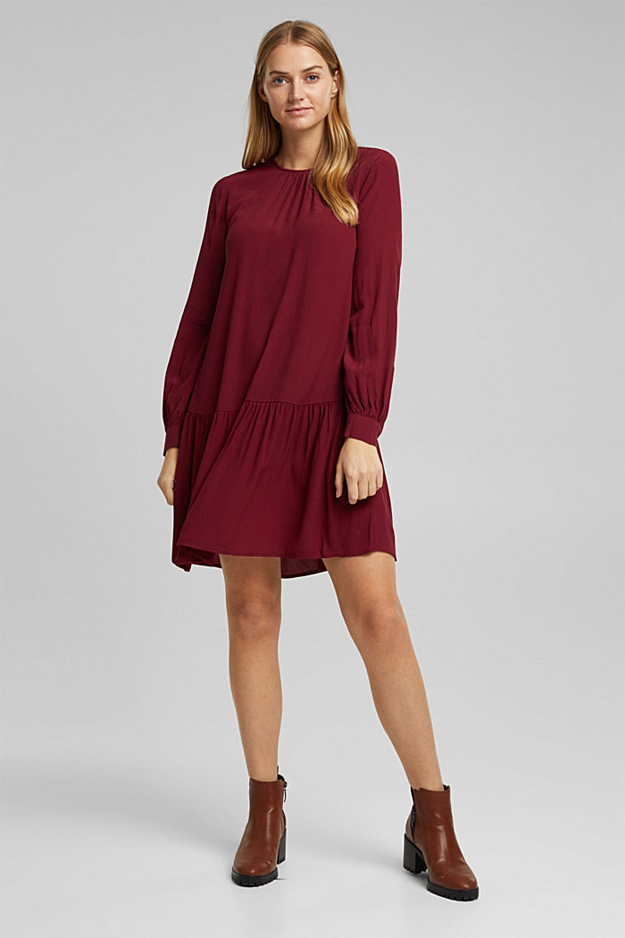 LENZING™ ECOVERO™ dress, BORDEAUX RED, overview
