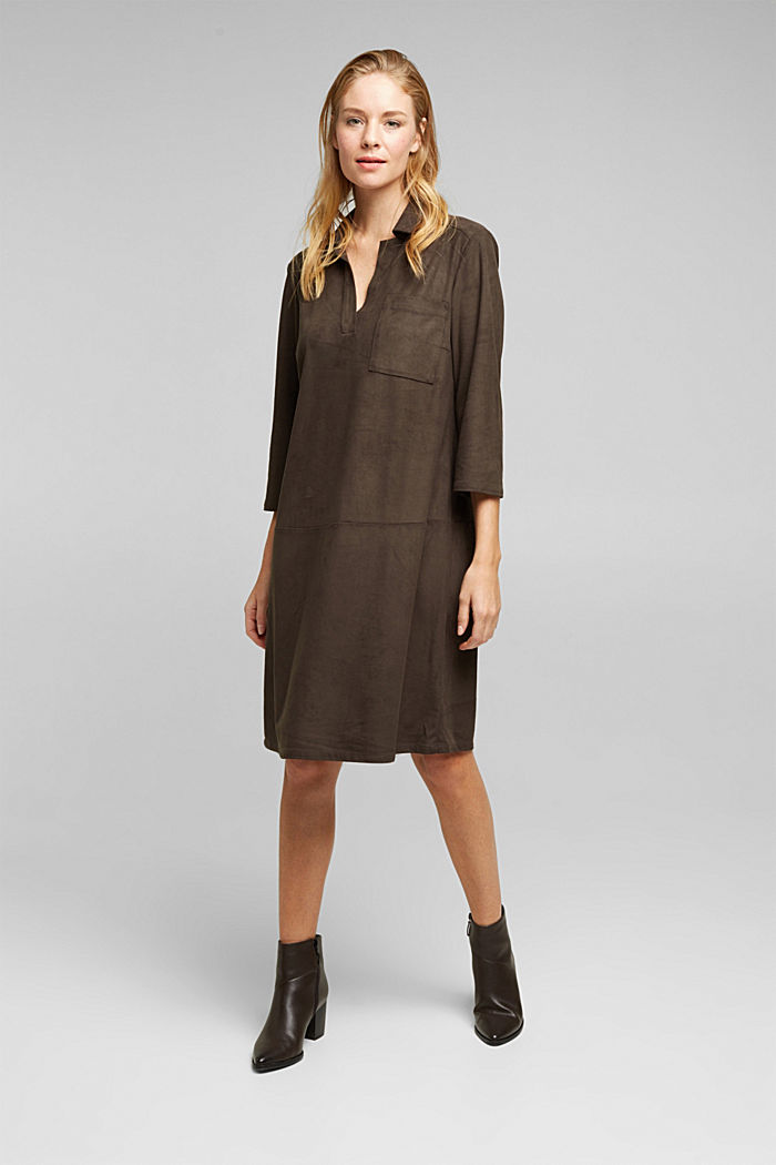Recycled: faux leather shirt dress, BROWN, detail image number 0