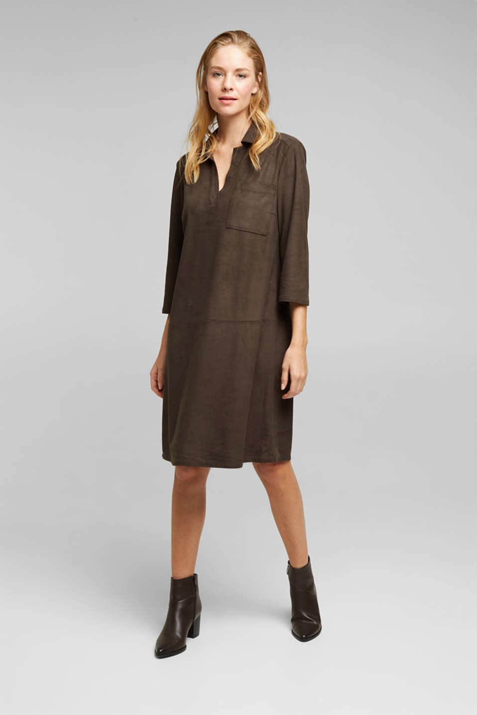 Esprit - Recycled: faux leather shirt dress