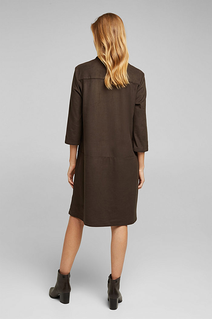 Recycled: faux leather shirt dress, BROWN, detail image number 3
