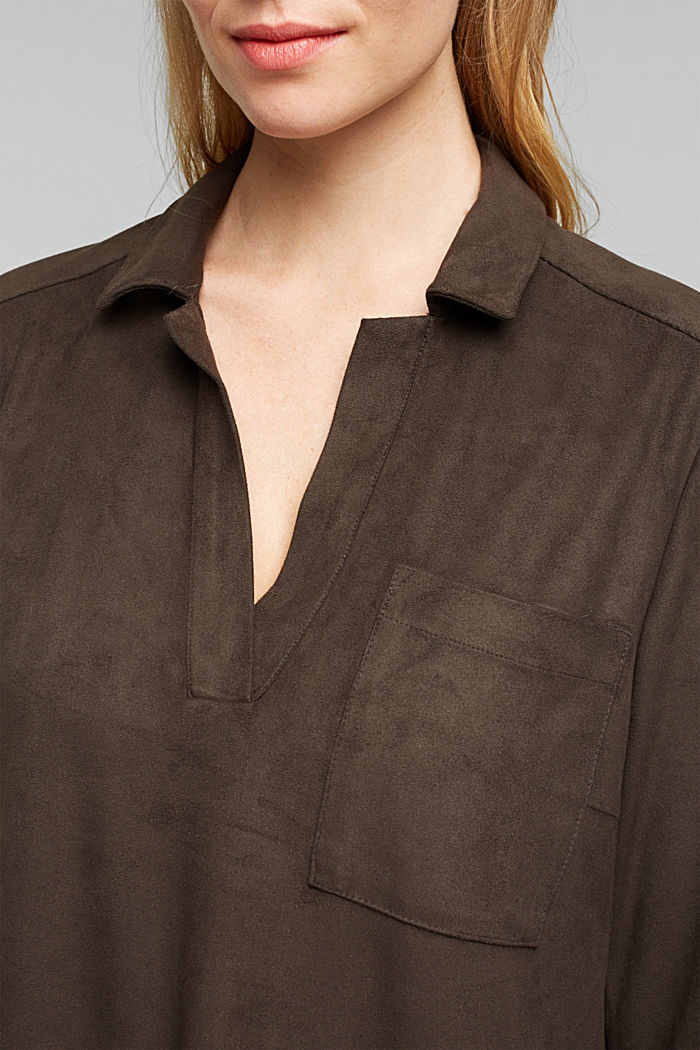 Recycled: faux leather shirt dress, BROWN, detail image number 2