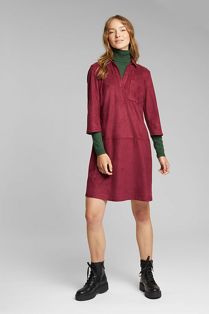 Recycled: faux leather shirt dress, BORDEAUX RED, detail image number 1