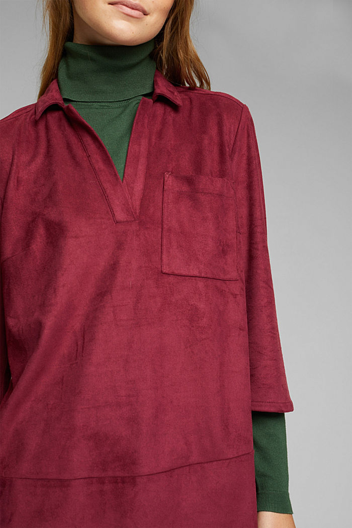 Recycled: faux leather shirt dress, BORDEAUX RED, detail image number 2