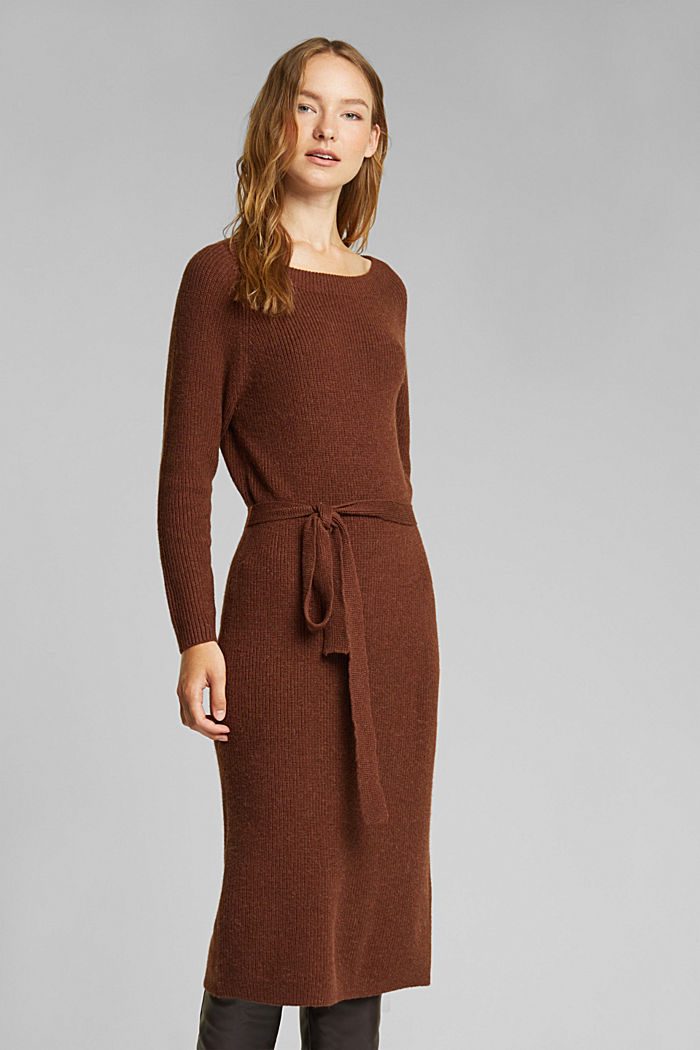 Knit dress with alpaca and organic cotton, BROWN, detail image number 0