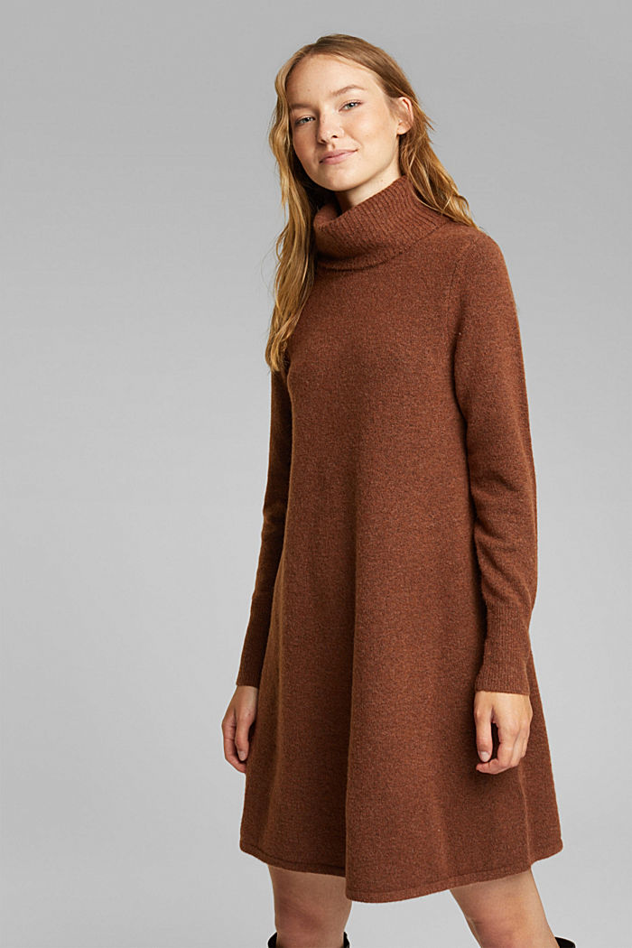Knit dress containing alpaca, BROWN, detail image number 0