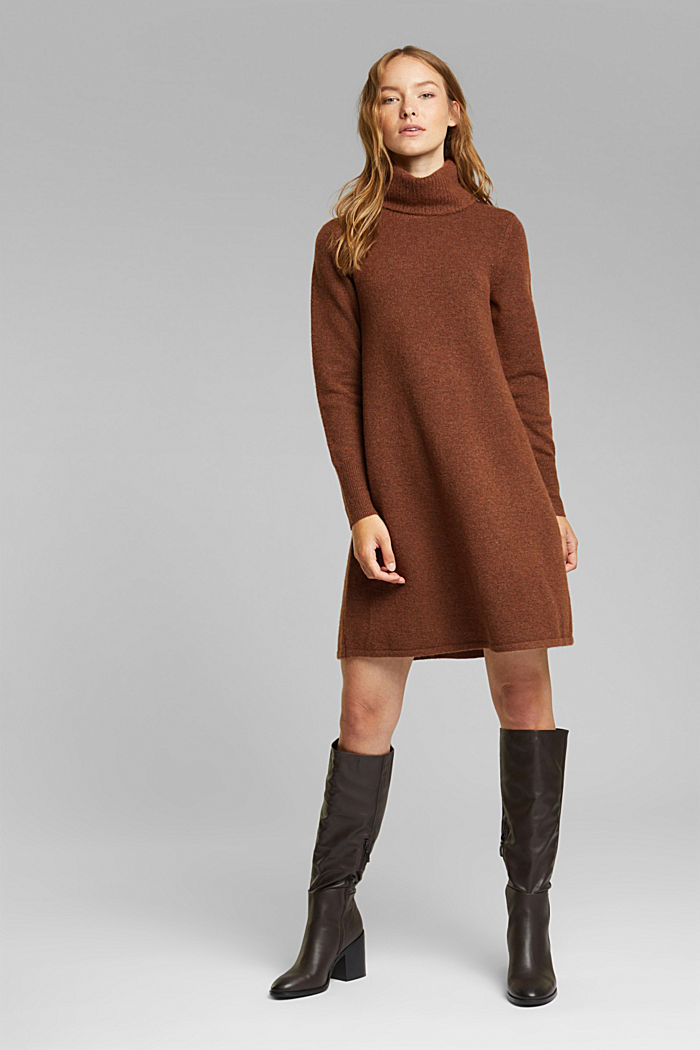 Knit dress containing alpaca, BROWN, detail image number 1