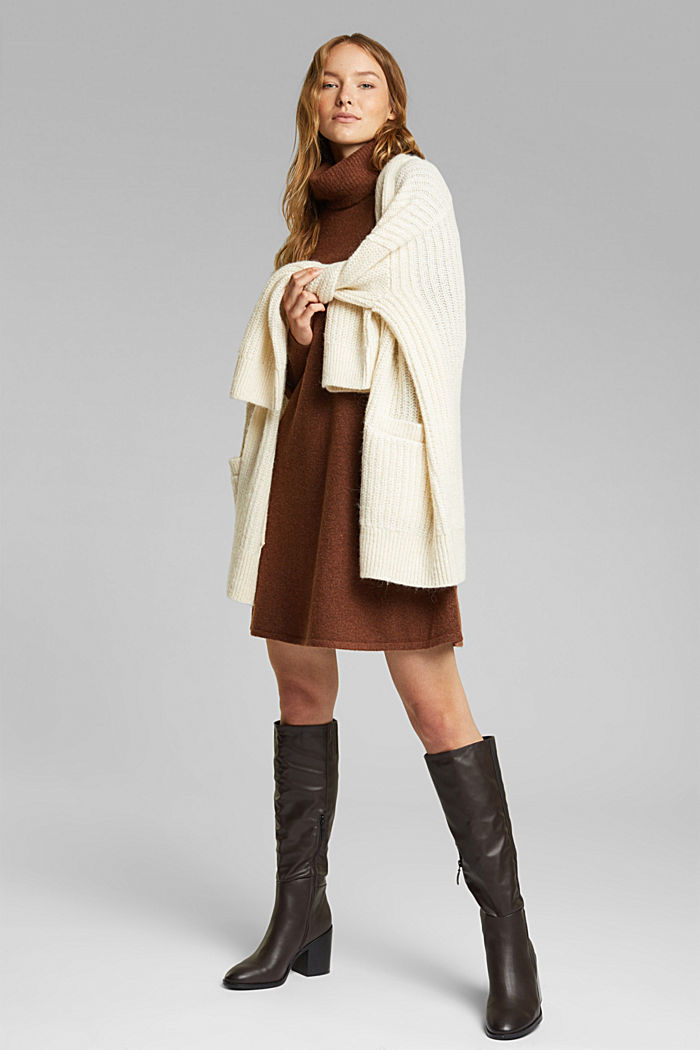 Knit dress containing alpaca, BROWN, detail image number 6