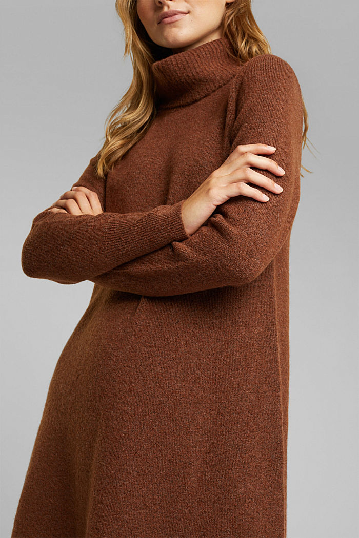 Knit dress containing alpaca, BROWN, detail image number 3