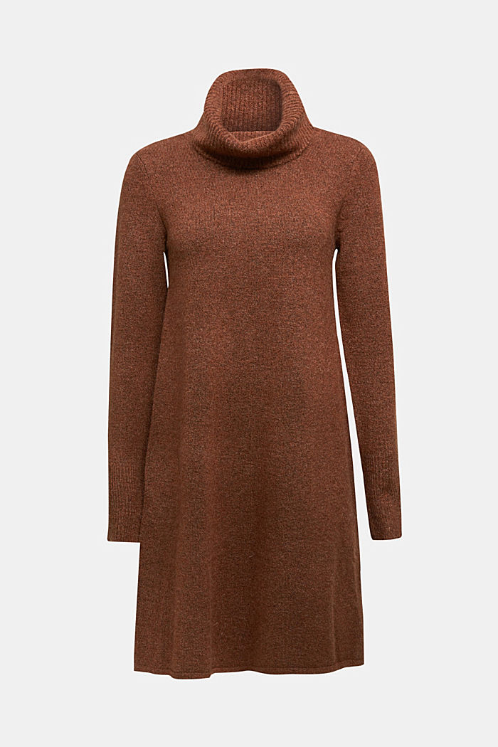 Knit dress containing alpaca, BROWN, detail image number 7