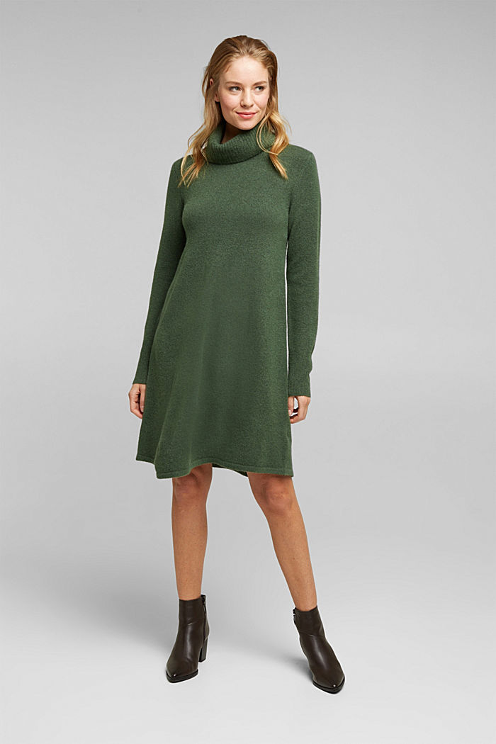 Knit dress containing alpaca, DARK GREEN, detail image number 0