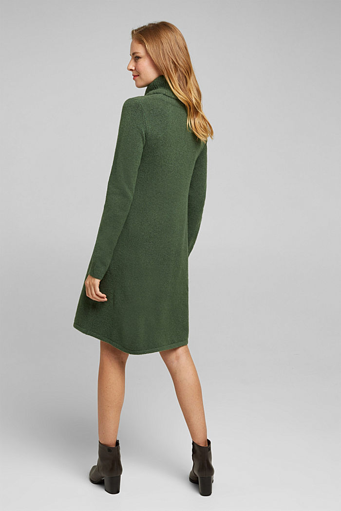 Knit dress containing alpaca, DARK GREEN, detail image number 2