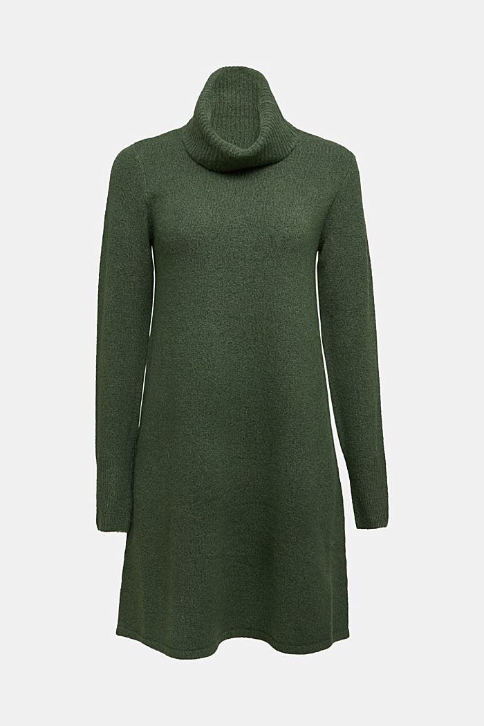 Knit dress containing alpaca, DARK GREEN, detail image number 6