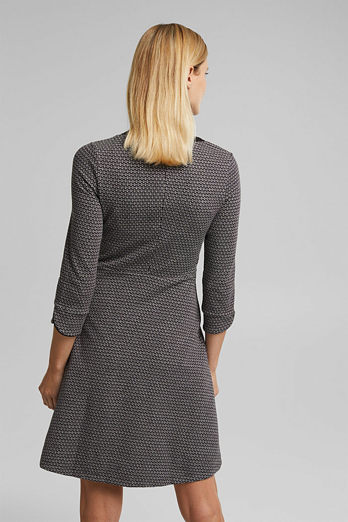 Jacquard dress with a minimalist pattern, BLACK, detail image number 2