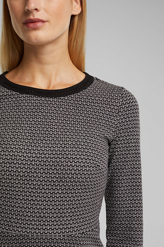 Jacquard dress with a minimalist pattern, BLACK, detail image number 3