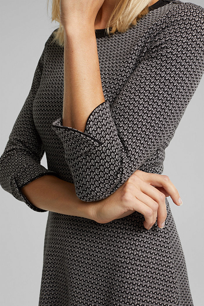 Jacquard dress with a minimalist pattern, BLACK, detail image number 5