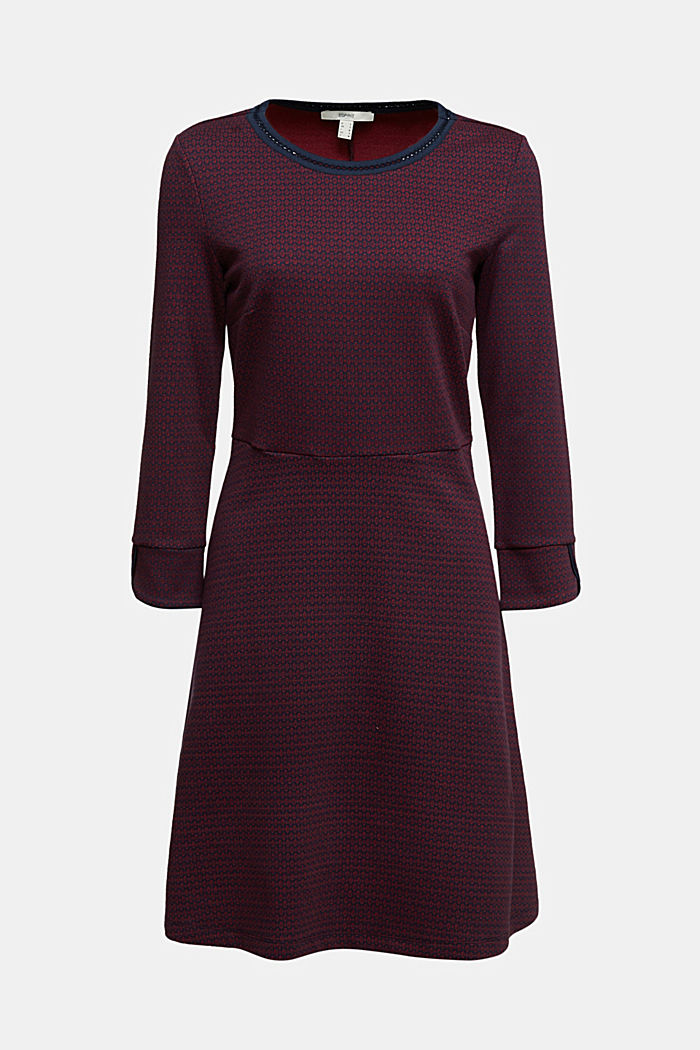 Jacquard dress with a minimalist pattern, NAVY, detail image number 6