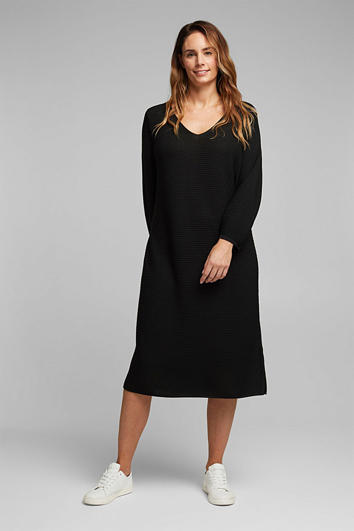 CURVY rib knit midi dress, BLACK, detail image number 0