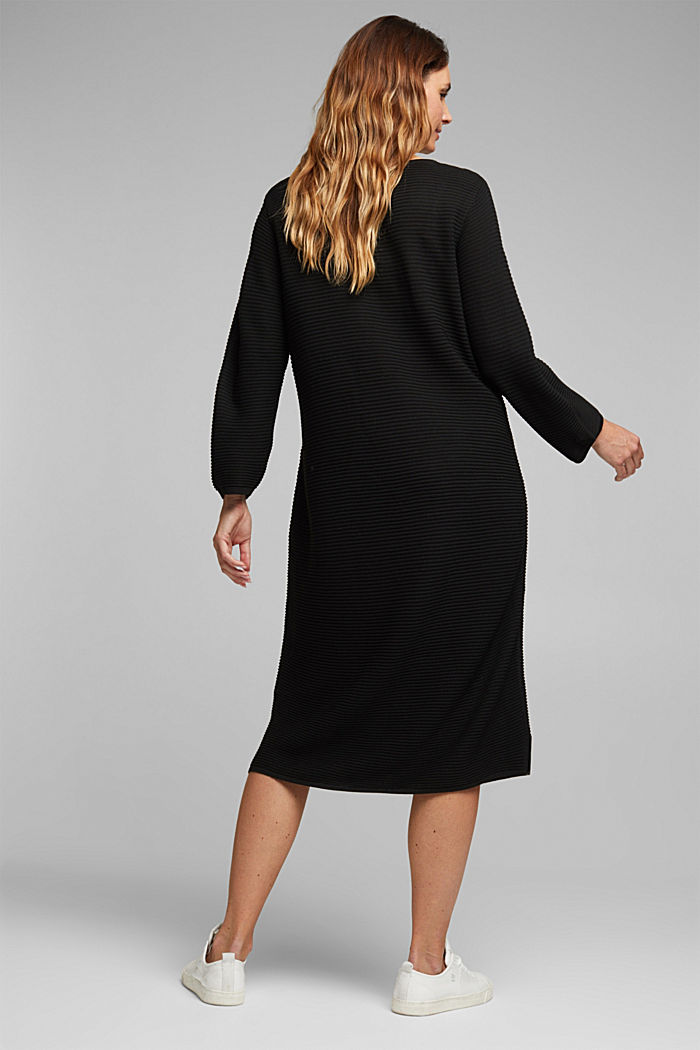 CURVY rib knit midi dress, BLACK, detail image number 2