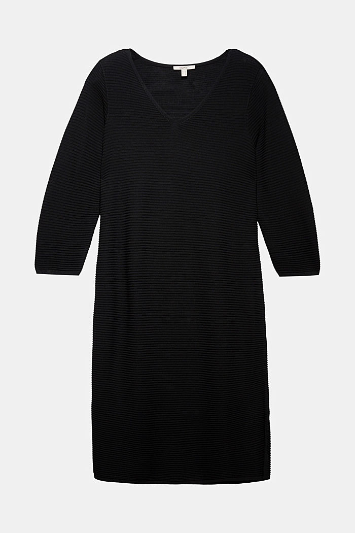 CURVY rib knit midi dress, BLACK, detail image number 6