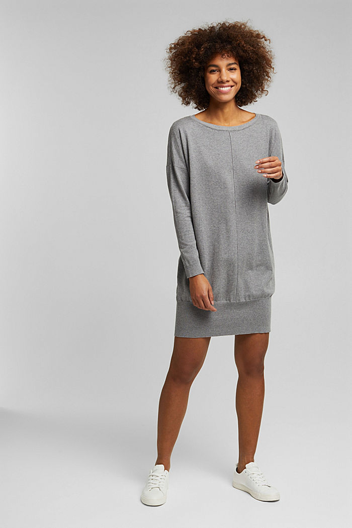 Knitted dress with organic cotton, GUNMETAL, detail image number 5