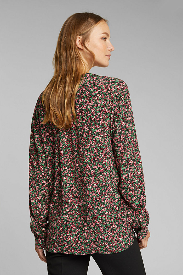 Print blouse with LENZING™ ECOVERO™, DARK GREEN, detail image number 3