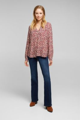 Print blouse with LENZING™ ECOVERO™, NAVY 4, detail