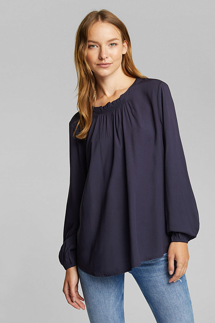 Blouse made of 100% LENZING™ ECOVERO™, NAVY, detail image number 0